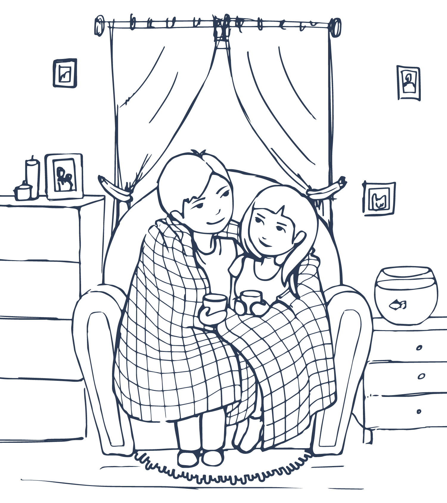 mom and daughter snuggle under quilt